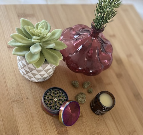 Image of wooden cutting board with potted succulent, succulent in clear, pink glass vase, cannabis buds, cannabis grinder and CBD balm.