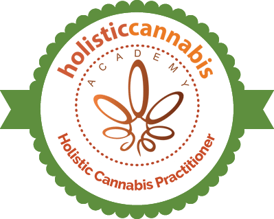 Holistic Cannabis Practitioner (HCP) badge from the Holistic Cannabis Academy (HCA) with green, circular ribbon and swirly cannabis leaf in shades of orange
