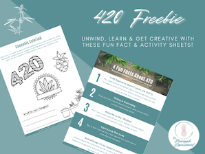 Thumbnail image of 420 Freebie handout to download that says unwind and get creative with these fun fact and activity sheets from the pineapple expressionist