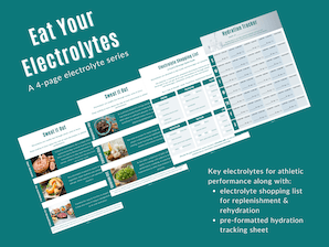 Image of eat your electrolytes a four page electrolyte series featured image for product purchase with Key electrolytes for athletic performance along with: electrolyte shopping list for replenishment & rehydration pre-formatted hydration tracking sheet on teal background with four thumbnail sample sheets