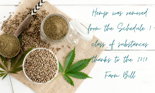 cannabis 101 - Hemp was removed from the Schedule 1 class of substances thanks to the 2018 Farm Bill with jars of hemp seeds on a hemp cloth and cannabis fan leaves