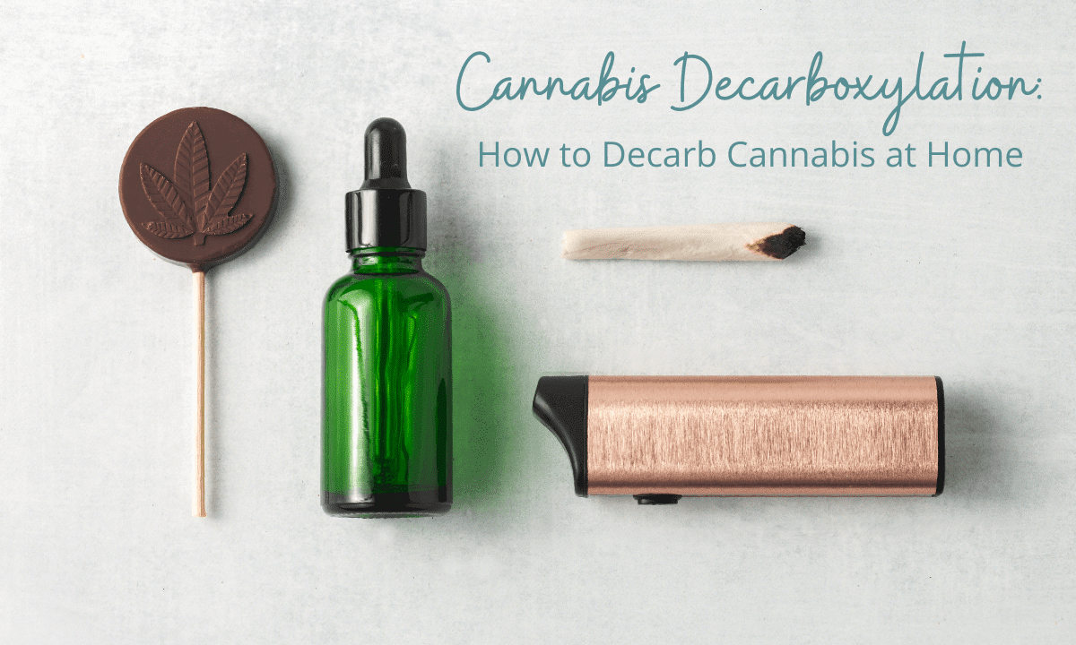Cannabis Decarboxylation: How to Decarb Cannabis at Home with a chocolate cannabis lollipop, tincture, butane lighter and joint on light grey background from the Pineapple Expressionist