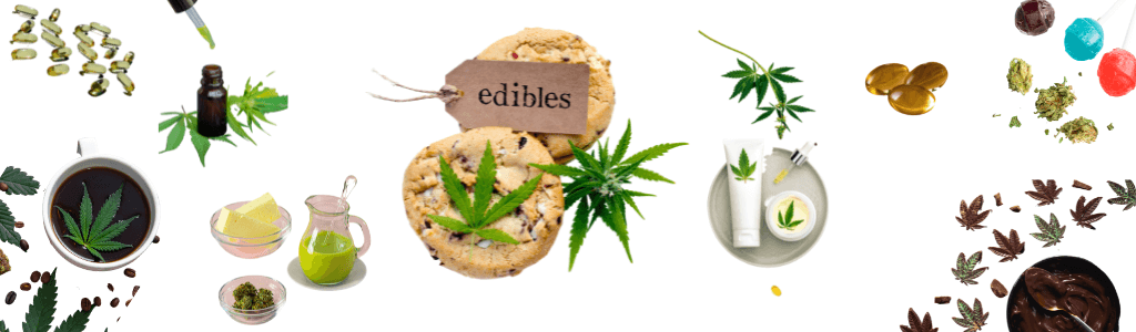 examples of different cannabis products like butter, capsules, cookies, chocolate, lollipops, lotion, coffee, green milk and tinctures and cannabis fan leaves