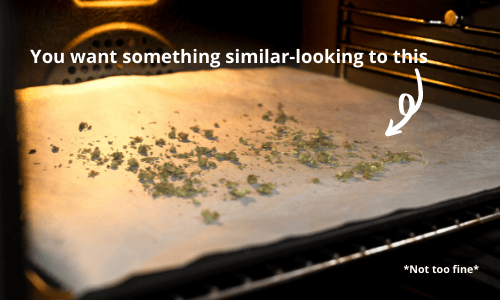 cannabis decarboxylation - ground cannabis bud - you want something similar-looking to this - pointing at broken up cannabis bud on baking sheet onoven rack