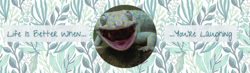 Life is better when you're laughing for pain management with a smiling gecko lizard in the center over a light green and teal leaf background