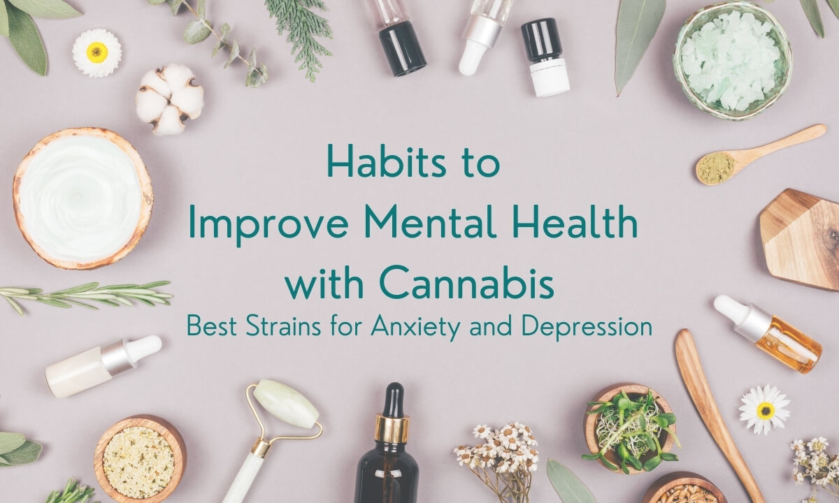 Habits to Improve Mental Health Best Strains for Anxiety and Depression Featured Image with various plant leaves, tincture bottles, ointments, salves, daisies and wooden bowls and utensils