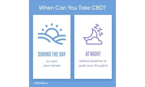 when to take cbd from CBDistillery - during the day to calm nerves, at night before bedtime to quiet your thoughts
