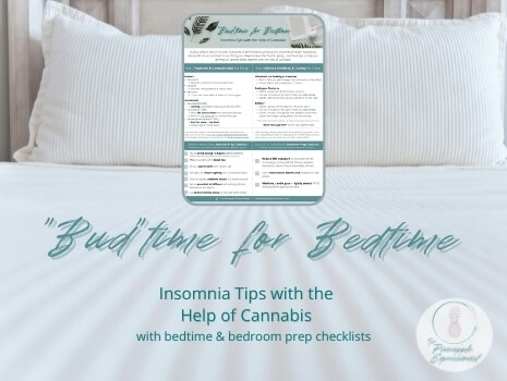Product image for Budtime for Bedtime insomnia tips with the help of cannabis with bedtime and bedroom prep checklists from the pineapple expressionist