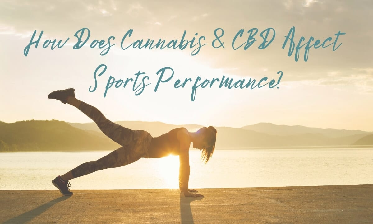 Featured image for How Does Cannabis and CBD Affect Sports Performance with woman in plank position with right leg raised on a deck overlooking the lake