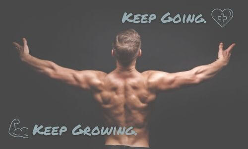 Image of Keep Going. Keep growing. with muscular male athlete's back standing upright with arms out like the letter T on black background