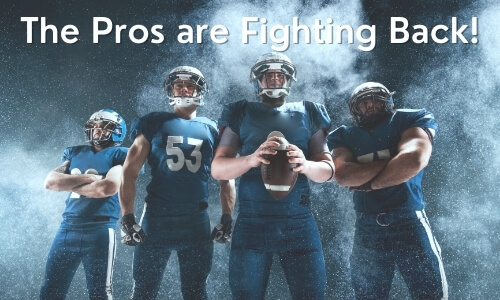 Image of four football players in generic navy uniform with text the pros are fighting back for cannabis in sports