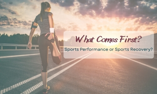 what comes first? sports performance or sports recovery? with a female runner stretching her right quadricep in a standing position on a road